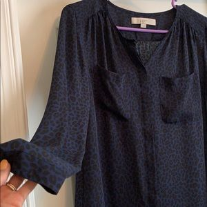 Beautiful Loft long sleeve blue and black blouse!
